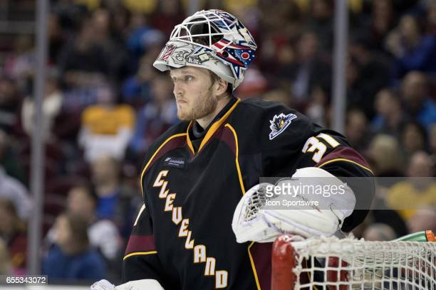 Cleveland Monsters G Anton Forsberg reacts after allowing a goal during the first period of the AHL hockey game between the Texas Stars and Cleveland...