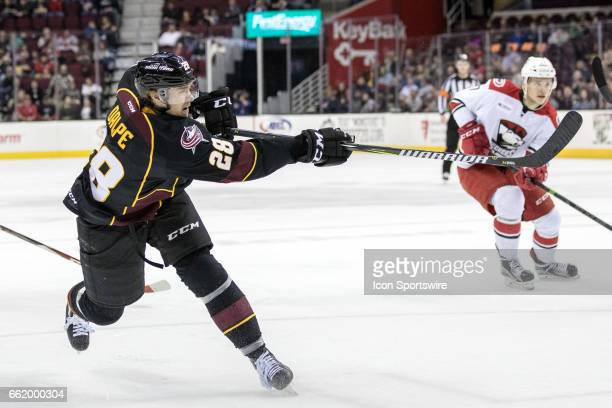 Cleveland Monsters RW Zac Dalpe shoots the puck during the second period of the AHL hockey game between the Charlotte Checkers and Cleveland Monsters...