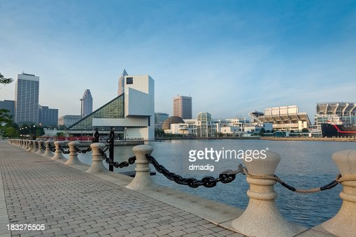 Cleveland North Coast Waterfront with Stadium and Museums