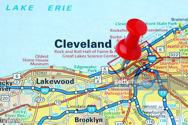 Cleveland  Ohio on a map. Cleveland Ohio Stock Photos and Pictures   Getty Images