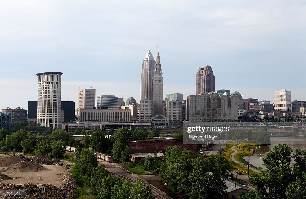 Cleveland Skyline as photographed from the LorainCarnegie Bridge on June 19 2015 in Cleveland Ohio