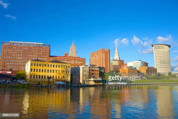 Cleveland skyline reflected in Cuyahoga River