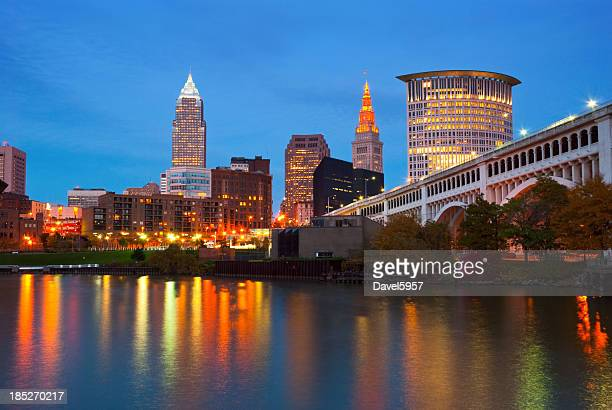 Cleveland skyline, river, and bridge at dusk