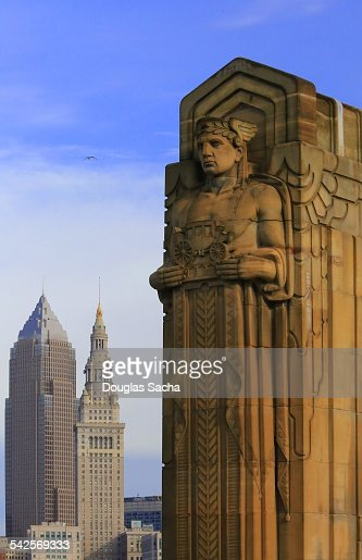 Cleveland skyline with stone sculpture stone scul