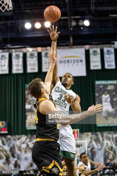 Cleveland State Vikings F Demonte Flannigan shoots over Northern Kentucky Norse F/C Drew McDonald during the second half of the men's college...