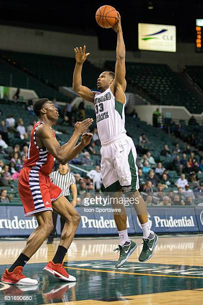 Cleveland State Vikings F Demonte Flannigan shoots over UIC Flames F/C Tai Odiase during the first half of the NCAA Men's Basketball game between the...