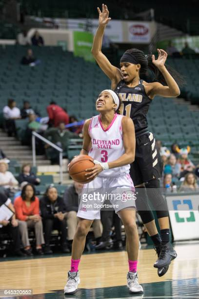 Cleveland State Vikings G Chrishna Butler looks to shoot as Oakland Golden Grizzlies F Hannah Little defends during the first quarter of the women's...
