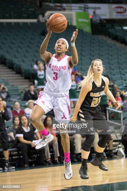 Cleveland State Vikings G Chrishna Butler shoots during the first quarter of the women's college basketball game between the Oakland Golden Grizzlies...
