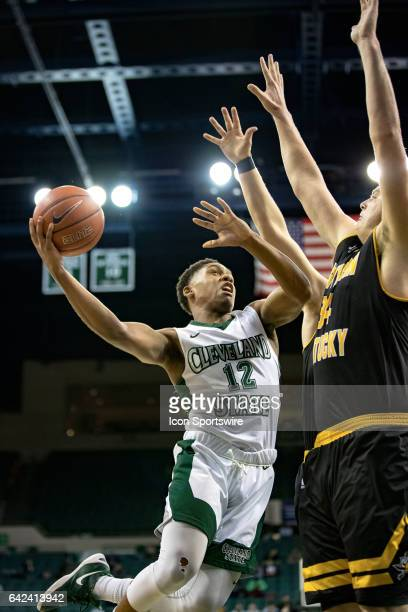 Cleveland State Vikings G Kasheem Thomas drives to the basket as Northern Kentucky Norse F/C Drew McDonald defends during the first half of the men's...