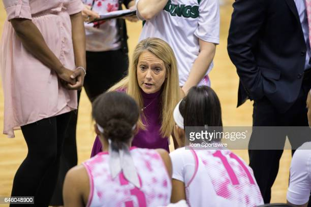 Cleveland State Vikings head coach Kate Peterson Abiad huddles with her team during the second quarter of the women's college basketball game between...
