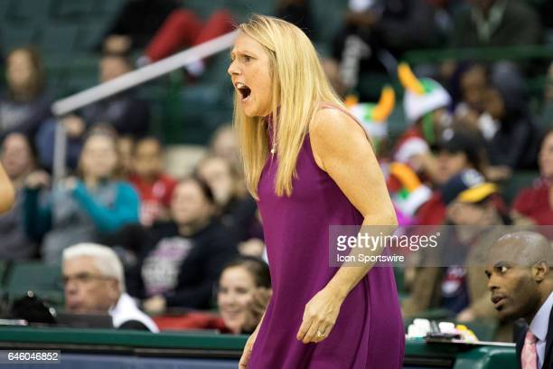 Cleveland State Vikings head coach Kate Peterson Abiad shouts instructions to her team during the second quarter of the women's college basketball...