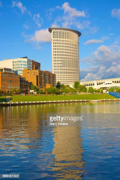 Cleveland tower reflected in Cuyahoga River