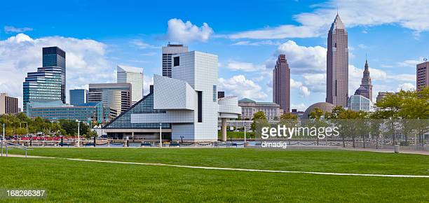 Cleveland Waterfront with Stadium, Museums and Skyline in Summer Panorama