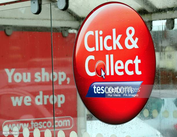 A Click Collect sign at a Tesco store in Burton On Trent