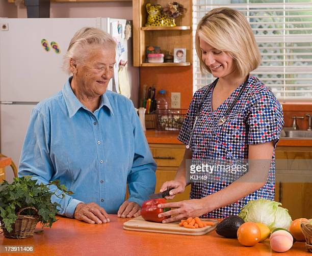 Client and Homecare Nurse in a home kitchen