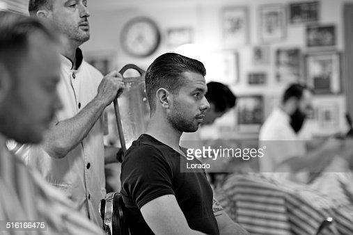 client at barbershop