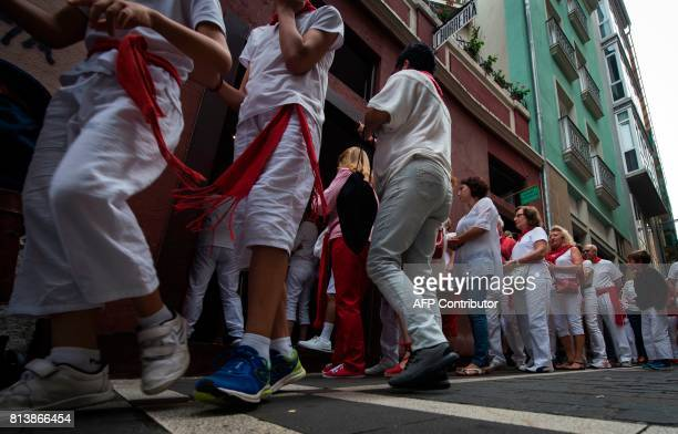 Clients queue to buy 'churros' outside the traditional churreria 'La Manueta' on July 13 in Pamplona northern Spain 'La Manueta' a 138 yearold...