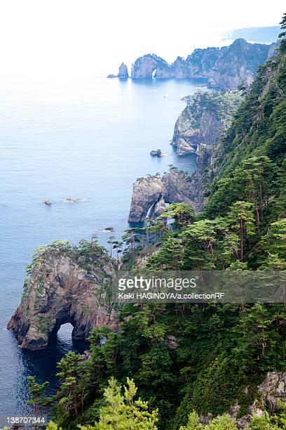 Cliff and oddly-shaped Rocks at Kitayamazaki, Iwate Prefecture, Japan