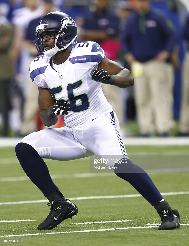 <a gi-track='captionPersonalityLinkClicked' href=/galleries/search?phrase=Cliff+Avril&family=editorial&specificpeople=2237705 ng-click='$event.stopPropagation()'>Cliff Avril</a> #56 of the Seattle Seahawks runs during the game against the Indianapolis Colts at Lucas Oil Stadium on October 6, 2013 in Indianapolis, Indiana.