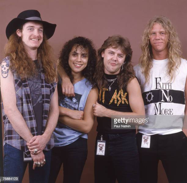 Cliff Burton Kirk Hammett Lars Ulrich and James Hetfield of Metallica on 4/5/86 in Chicago Il
