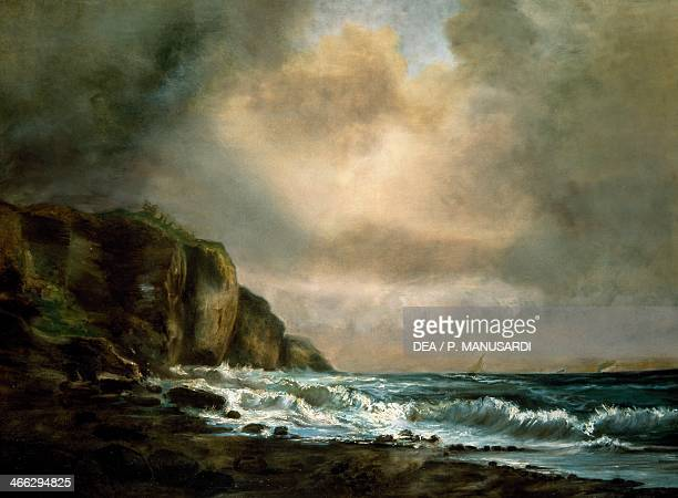 Cliff by the Sea by Luigi Riccardi Italy 19th century