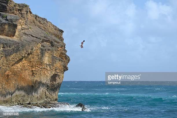 Cliff Diving in Kauai, Hawaii, USA