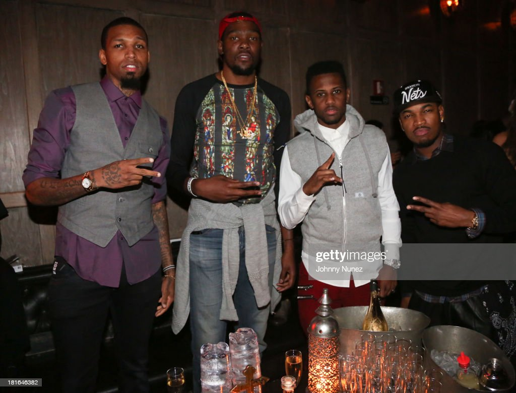 Cliff Dixon, Kevin Durant, Fabolous and Ne-Yo attend Kevin Durant's 25th Birthday Party at Avenue on September 22, 2013 in New York City.