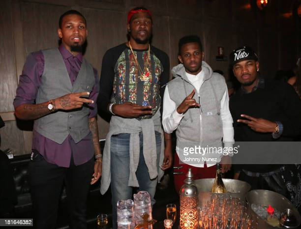 Cliff Dixon Kevin Durant Fabolous and NeYo attend Kevin Durant's 25th Birthday Party at Avenue on September 22 2013 in New York City