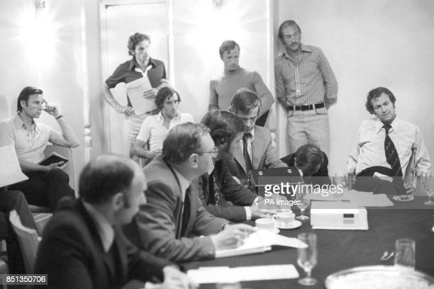Cliff Drysdale president of the Association of Tennis Professionals announces to the press at the Westbury Hotel that their members would boycott the...
