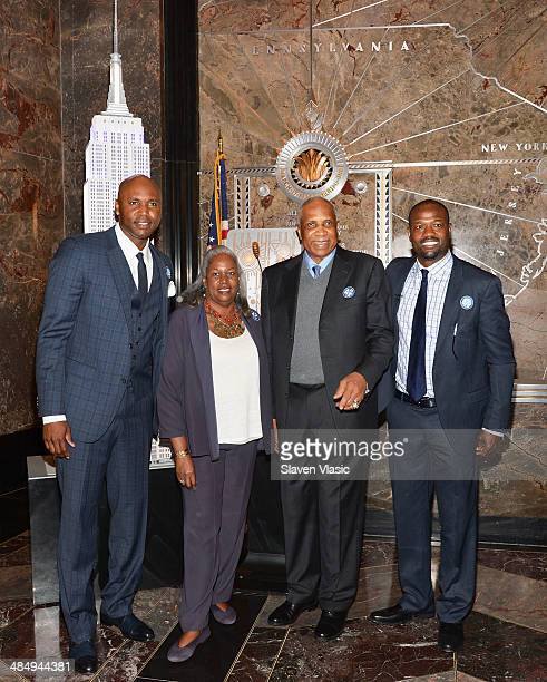 Cliff Floyd former NY Mets player and MLB Network analysts Sharon Robinson Jackie Robinson's daughter Frank Robinson hall famer and first...