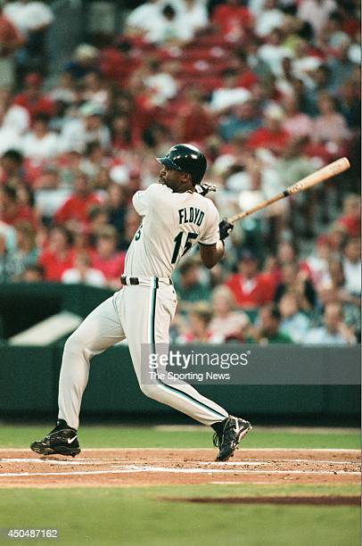 Cliff Floyd of the Florida Marlins bats against the St Louis Cardinals at Busch Stadium on August 26 1998 in St Louis Missouri