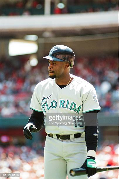 Cliff Floyd of the Florida Marlins bats against the St Louis Cardinals at Busch Stadium on May 1 1997 in St Louis Missouri The Cardinals defeated the...