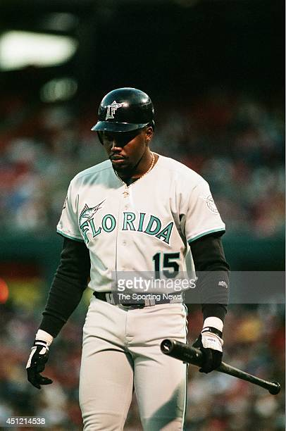 Cliff Floyd of the Florida Marlins bats against the St Louis Cardinals at Busch Stadium on April 30 1997 in St Louis Missouri