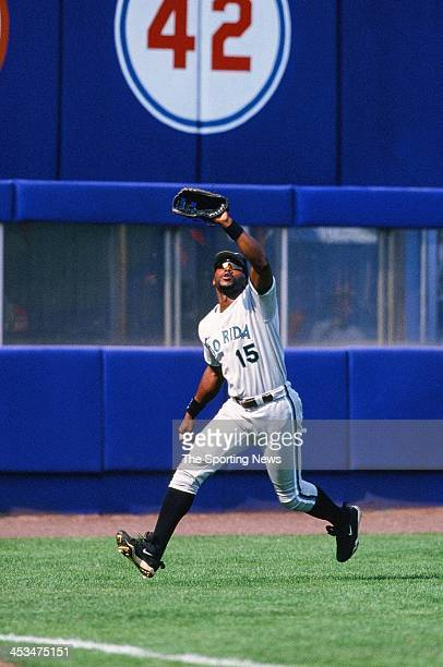 Cliff Floyd of the Florida Marlins during the game against the New York Mets on June 21 1998 at Shea Stadium in Flushing New York