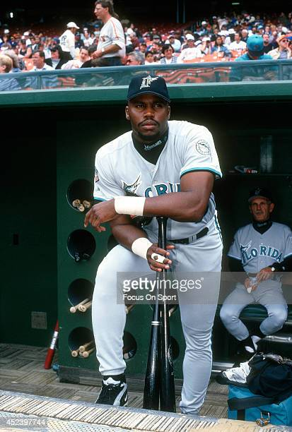 Cliff Floyd of the Florida Marlins poses for this portrait on the dugout steps prior to the start of a Major League Baseball game against the San...