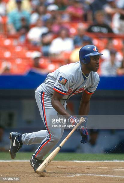 Cliff Floyd of the Montreal Expos bats against the New York Mets during a Major League Baseball game circa 1994 at Shea Stadium in the Queens borough...
