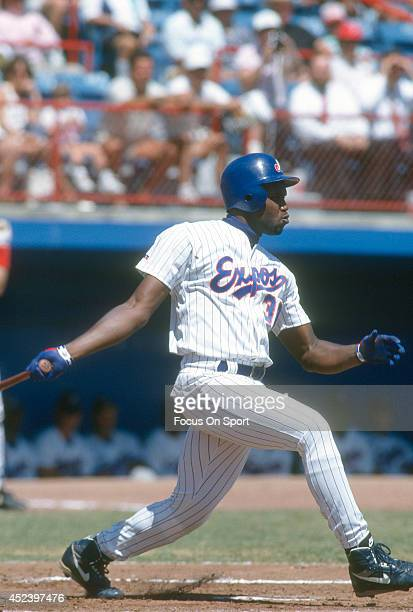Cliff Floyd of the Montreal Expos bats during an Major League Baseball spring training game circa 1993 at Jackie Robinson Stadium in Daytona Beach...