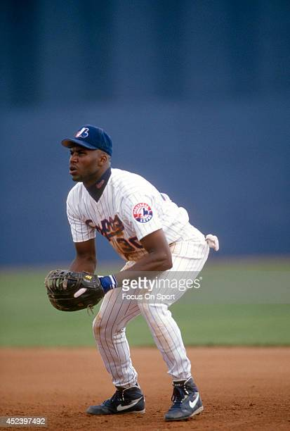 Cliff Floyd of the Montreal Expos is down and ready to make a play on the ball during an Major League Baseball spring training game circa 1993 at...