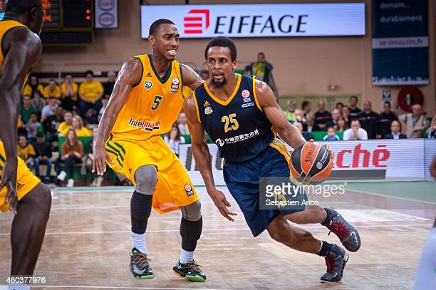 Cliff Hammonds #25 of Alba Berlin competes with Jamar Smith #5 of Limoges CSP during the 20142015 Turkish Airlines Euroleague Basketball Regular...