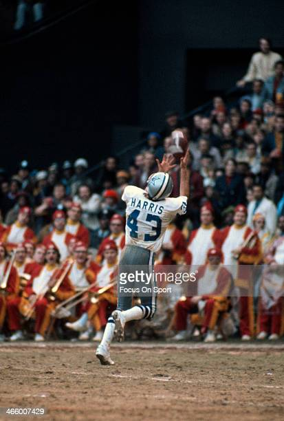 Cliff Harris of the of the Dallas Cowboys in action against the Washington Redskins during an NFL football game circa 1970 at RFK Stadium in...