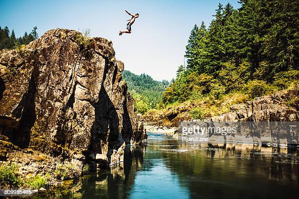 Cliff Jumping Man