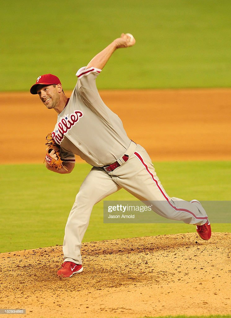 <a gi-track='captionPersonalityLinkClicked' href=/galleries/search?phrase=Cliff+Lee&family=editorial&specificpeople=218092 ng-click='$event.stopPropagation()'>Cliff Lee</a> #33 of the Philadelphia Phillies delivers a pitch against theMiami Marlins at Marlins Park on September 28, 2012 in Miami, Florida.