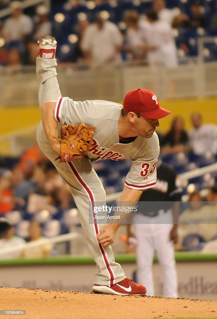 Cliff Lee #33 of the Philadelphia Phillies delivers a pitch against theMiami Marlins at Marlins Park on September 28, 2012 in Miami, Florida.