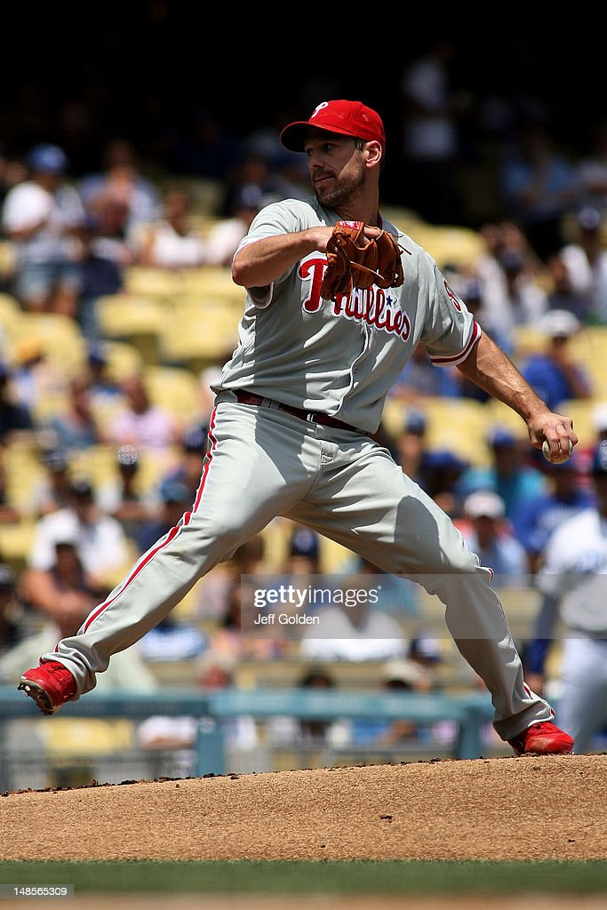<a gi-track='captionPersonalityLinkClicked' href=/galleries/search?phrase=Cliff+Lee&family=editorial&specificpeople=218092 ng-click='$event.stopPropagation()'>Cliff Lee</a> #33 of the Philadelphia Phillies pitches against the Los Angeles Dodgers in the first inning at Dodger Stadium on July 18, 2012 in Los Angeles, California.