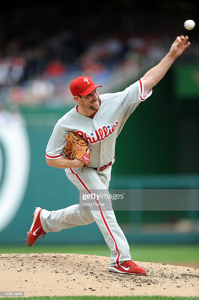 <a gi-track='captionPersonalityLinkClicked' href=/galleries/search?phrase=Cliff+Lee&family=editorial&specificpeople=218092 ng-click='$event.stopPropagation()'>Cliff Lee</a> #33 of the Philadelphia Phillies pitches against the Washington Nationals at Nationals Park on October 3, 2012 in Washington, DC.