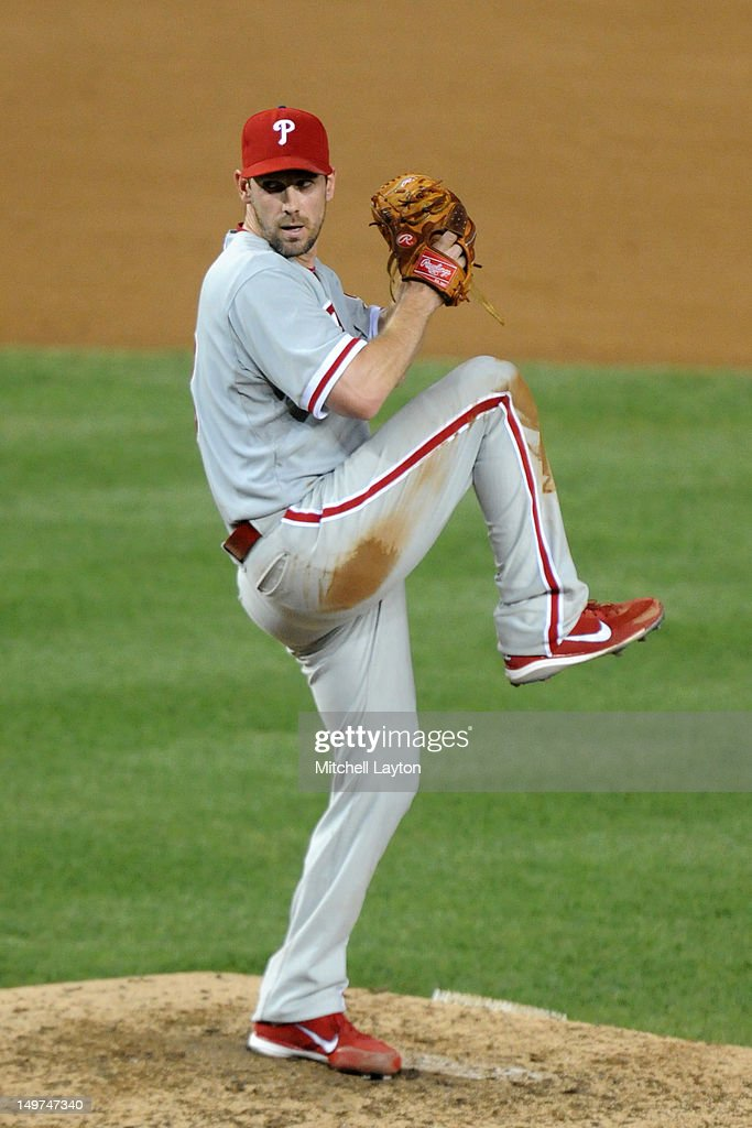 Cliff Lee #33 of the Philadelphia Phillies pitches during a baseball game against the Washington Capitals on July 31, 2012 at Nationals Park in Washington DC. The Phillies won 8-0.