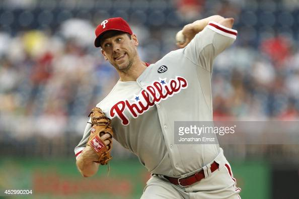 Cliff Lee of the Philadelphia Phillies pitches in the second inning against the Washington Nationals at Nationals Park on July 31 2014 in Washington...