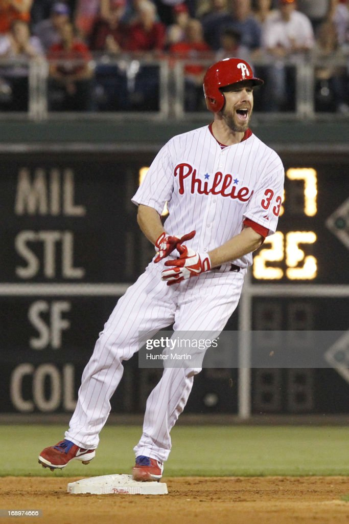 <a gi-track='captionPersonalityLinkClicked' href=/galleries/search?phrase=Cliff+Lee&family=editorial&specificpeople=218092 ng-click='$event.stopPropagation()'>Cliff Lee</a> #33 of the Philadelphia Phillies reacts after hitting a double in the fifth inning during a game against the Cincinnati Reds at Citizens Bank Park on May 17, 2013 in Philadelphia, Pennsylvania. The Phillies won 5-3.