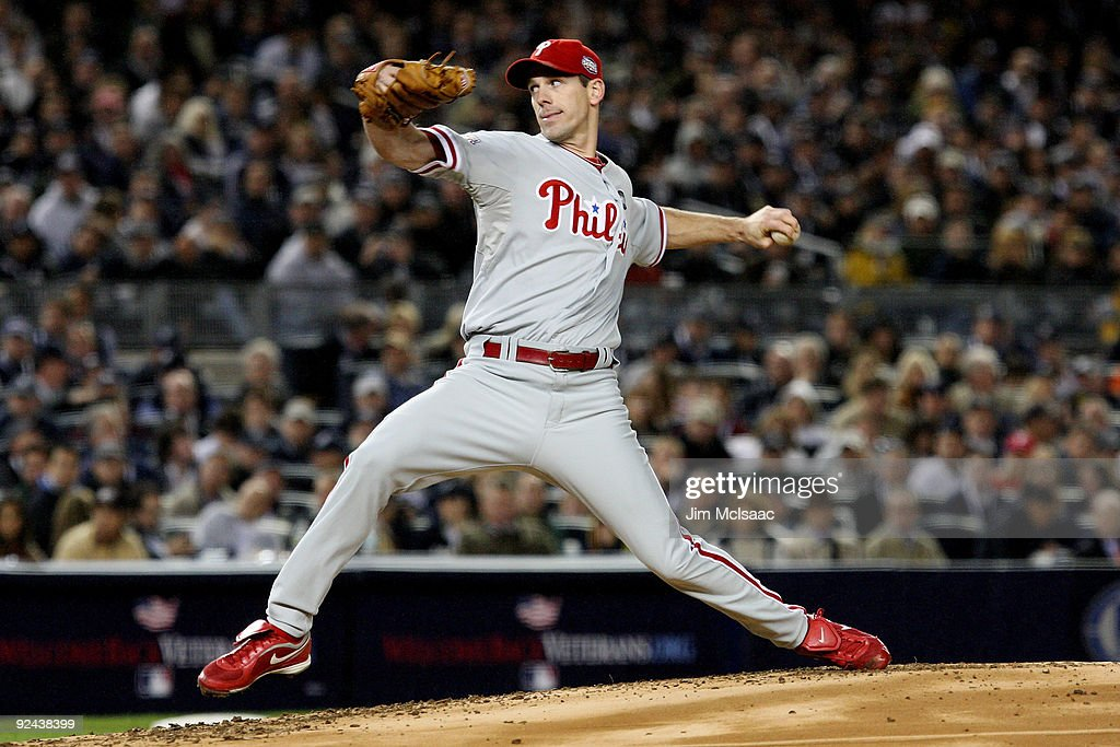 <a gi-track='captionPersonalityLinkClicked' href=/galleries/search?phrase=Cliff+Lee&family=editorial&specificpeople=218092 ng-click='$event.stopPropagation()'>Cliff Lee</a> #34 of the Philadelphia Phillies throws a pitch against the New York Yankees in Game One of the 2009 MLB World Series at Yankee Stadium on October 28, 2009 in the Bronx borough of New York City.