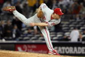 Cliff Lee of the Philadelphia Phillies throws a pitch against the New York Yankees in Game One of the 2009 MLB World Series at Yankee Stadium on...